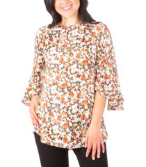 ny collection petite floral-print ruffle-sleeve top