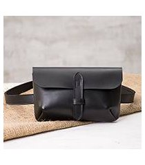 leather waist bag, 'experience in black' (peru)