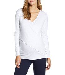 women's angel maternity crossover maternity/nursing top, size x-small - white