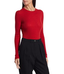 michael kors women's ribbed cashmere knit crewneck sweater - cadet - size l