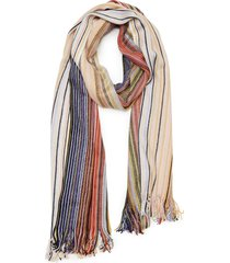 women's missoni metallic stripe scarf, size one size - ivory