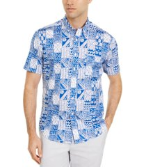 club room men's patchwork-print shirt, created for macy's