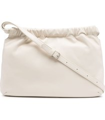 agnès b. drawstring leather shoulder bag - white