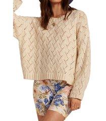 women's billabong sweet daze sweater, size small - white