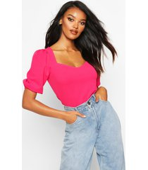 crepe sweetheart neck puff sleeve top, hot pink