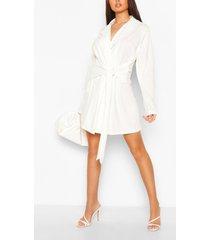 wikkel blazer jurk met ceintuur, wit