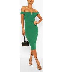 bardot bodycon midi dress, green