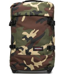 eastpak camouflage-print wheeled suitcase - brown