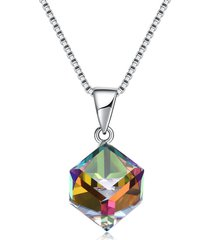 collana in argento 925 con ciondolo in argento 925 con brillanti colorati per donne