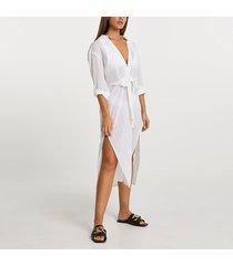 river island womens cream longline tie shirt dress cover up