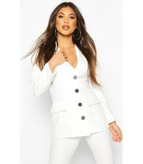 button down fitted blazer, ivory