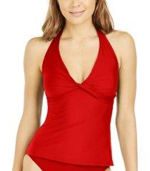 dkny twist-front halter tankini top women's swimsuit