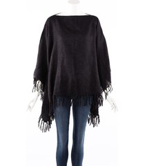 brunello cucinelli metallic black mohair alpaca fringe poncho black/metallic sz: one size