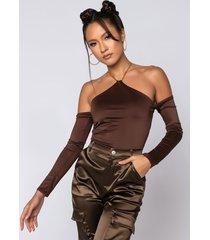 akira chocolate halter neck chain detail long sleeve bodysuit