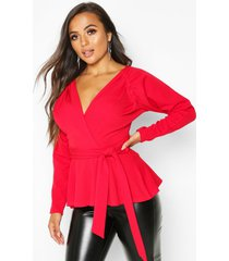 petite crepe ruched puff sleeve wrap top, red