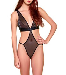 hauty mixed media plunge neck teddy in black at nordstrom