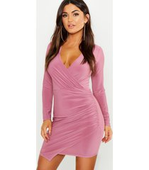 wrap long sleeve bodycon dress, mauve