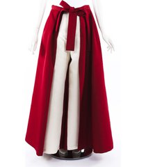 rosie assoulin 2019 pleated silk wide leg pants red/cream sz: s