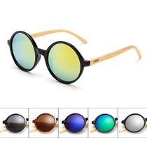 occhiali da sole di bambù handmade rotondi rotondi rotondi di modo degli occhiali da sole occhiali anti-uv eyewear per le donne degli uomini