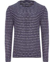 blusa masculina tricot flame listrado - azul