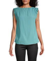 redvalentino women's ruched shoulder-tie top - laguna - size 38 (6)