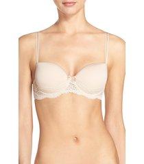 women's simone perele eden 3d underwire demi bra, size 32g (4d us) - beige