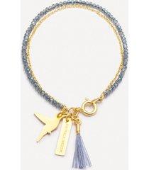 bransoletka be free złocona z szklanymi niebieskimi kryształami