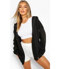 basic zachte mix & match hoodie met rits, black