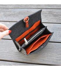 filcowy portfel - grafit z miodowym wnętrzem