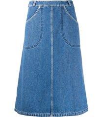 kenzo denim midi skirt - blue
