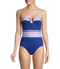 graphic split neck 1-piece swimsuit