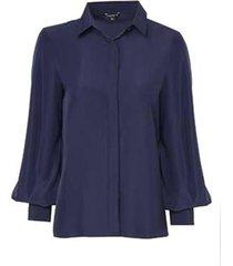 camisa dudalina manga longa lisa com nervura punhos feminina (azul marinho, 44)