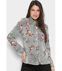 camisa manga longa mi floral feminina