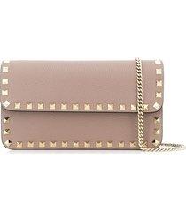 valentino garavani rockstud wallet crossbody bag - neutrals
