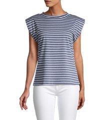 love ady women's striped top - denim white - size m