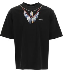 marcelo burlon double chain feathers oversized t-shirt