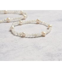 kamień księżycowy & perły bransoletka