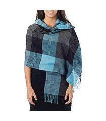 100% alpaca shawl, 'andean turquoise' (peru)