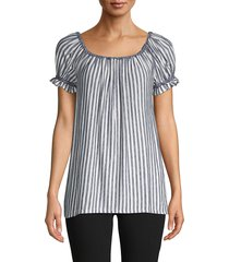 max studio women's striped off-the-shoulder top - ivory black - size s