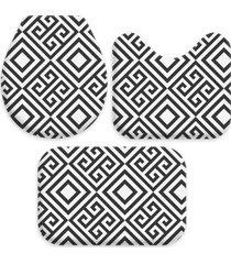 kit 3 tapetes decorativos para banheiro wevans abstrato preto