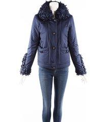 chanel blue down filled frayed trim coat blue sz: s