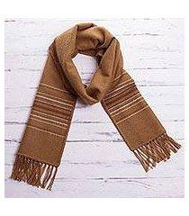 men's alpaca blend scarf, 'andes in camel' (peru)