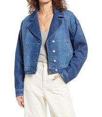 women's free people crop denim trucker jacket, size x-large - blue