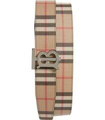 men's burberry tb monogram vintage check reversible belt