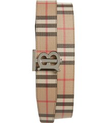 men's burberry tb monogram vintage check reversible belt
