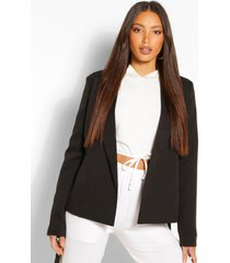 tall belted woven blazer, black