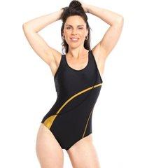 traje de baño deportivo rebajado con líneas amarillo samia