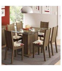 conjunto sala de jantar madesa gales mesa tampo de vidro com 6 cadeiras rustic/floral hibiscos