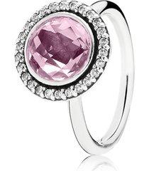 anel de prata círculo brilhante rosa