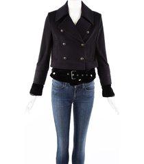 veronica beard yara black cashmere wool velvet belted layered jacket black sz: xs